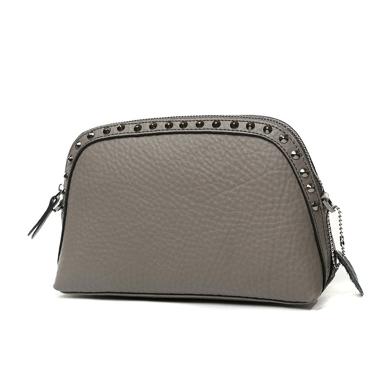 Taupe Gray Genuine Cowhide Leather Rivet Studded Lady Evening Party Clutch Wristlet Durable Sewing Pattern Crossbody Shoulder Bag