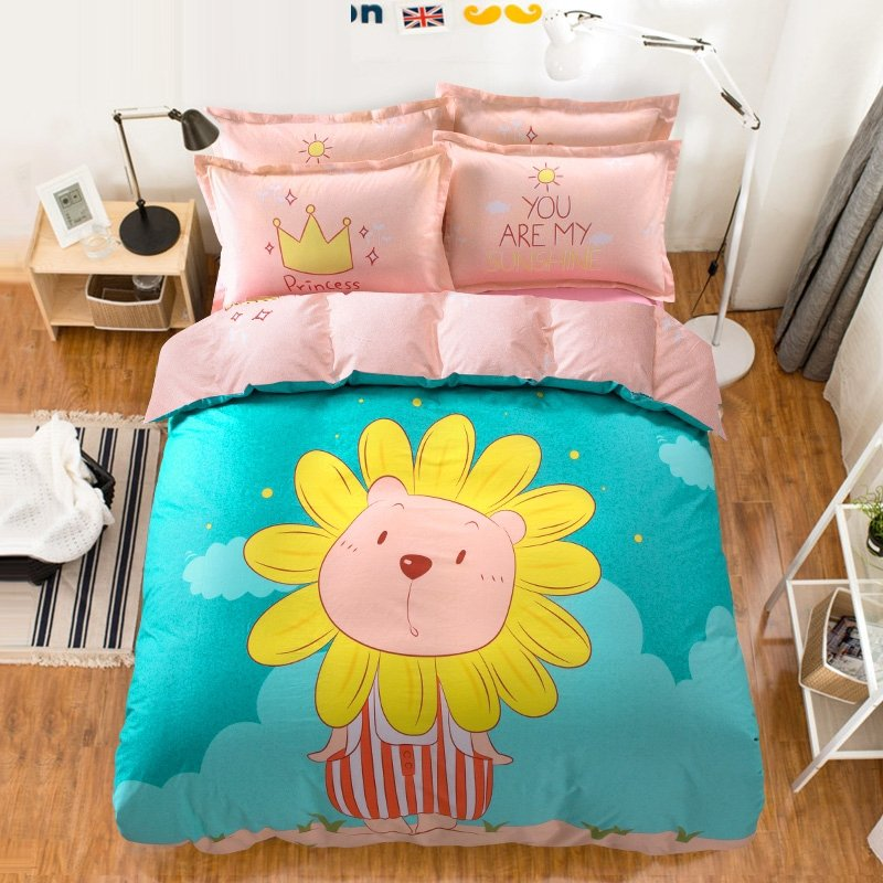 Turquoise Orange and Pink Funky Sunflower Print Stylish Cartoon Themed Personalized Reversible 100% Cotton Twin, Full Size Bedding Sets