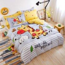 Kids Orange Yellow Grey and White Giraffe Print Jungle Animal Funny Style Reversible 100% Cotton Twin, Full Size Bedding Sets