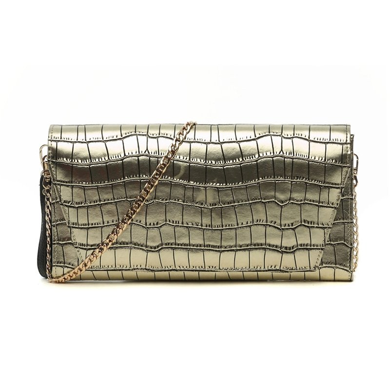 Gold Genuine Cowhide Leather Embossed Crocodile Lady Envelope Evening Clutch Fashion Chain Strap Casual Party Flap Crossbody Shoulder Bag