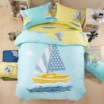 Boys Light Blue Yellow and White Sailboat Print Nautical Themed Reversible 100% Cotton Twin, Full Size Bedding Sets