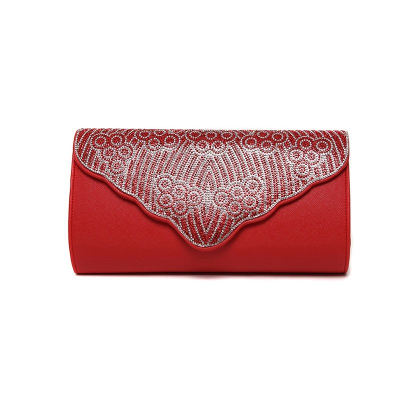 Hipster Crimson Red Faux Leather Casual Party Flap Evening Clutch Wallet Bohemian Western Bling Rhinestone Crossbody Shoulder Bag