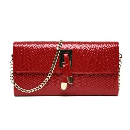 Cardinal Red Genuine Cowhide Leather Braided Evening Party Clutch Wallet Gorgeous Magnetic Closure Chain Flap Crossbody Shoulder Bag
