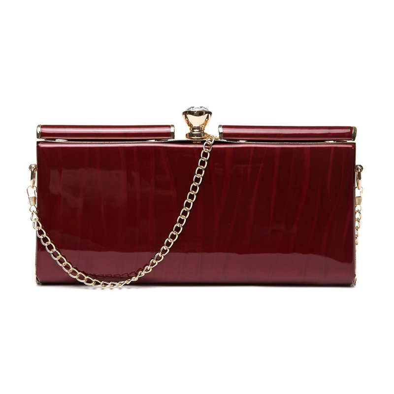 Burgundy Red Patent Leather Lady Casual Party Evening Clutch Boutique Magnetic Closure Rhinestone Chain Small Crossbody Shoulder Bag