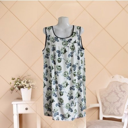 Light Ink Flower Print One Piece Dress Middle Age Style Reminiscence Pajamas for Women