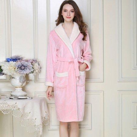 Plain Light Pink Flannel Wide-Lapel Long Sleeve Waist Tie Bathrobe Night Robe Free Size Pajamas for Women