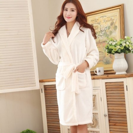 Plain Beige Flannel Wide-Lapel Long Sleeve Waist Tie Bathrobe Pocket Night Robe Free Size Pajamas for Women