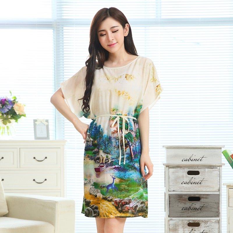 Green Flower Oil Painting Viscose Midi Dress Short Sleeve 1 Piece Pajamas for Elderly Women M L XL