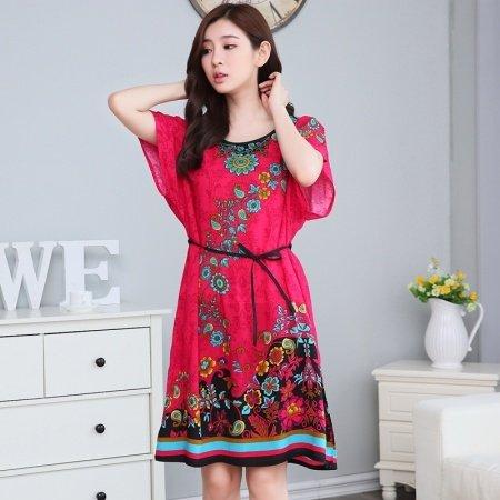 Red Garnet Flower Peony Print Viscose Midi Dress Short Sleeve 1 Piece Pajamas for Elderly Women M L XL