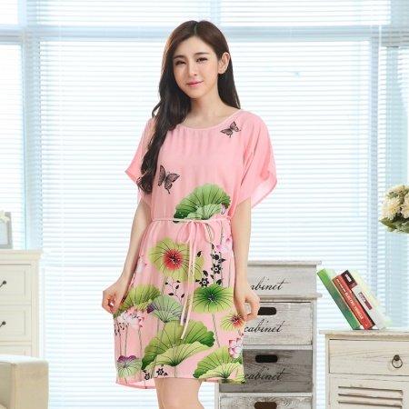 Pink Green Flower Lotus Print Viscose Midi Dress Short Sleeve 1 Piece Pajamas for Elderly Women M L XL