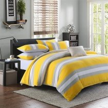 Boys Lemon Yellow Gray and White Rugby Stripe Print Modern Chic Reversible Knitted Luxury Egyptian Cotton Full, Queen Size Bedding Sets