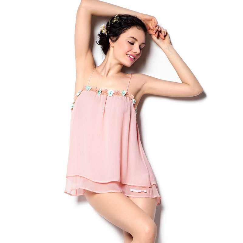 Pale Pink 100% Pure Silk Boat Neck Cami Dress with 3D Flower Lace Border Sexy Pajamas for Girls S M L XL