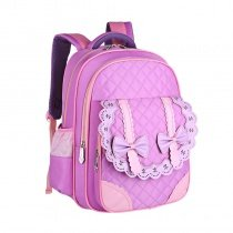 Lavender Pink Nylon with Leather Lace Bow Quilted School Backpack Personalized Sewing Pattern Girls Preppy Campus Book Bag