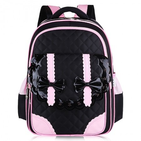 Modern Black Pink Nylon with Leather Lace Bow Quilted Flap Campus Backpack Durable Sewing Pattern Girls Preppy School Book Bag