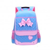Sky Blue Nylon with Pink Lace Fine Bow Quilted Flap School Backpack Durable Sewing Pattern Heart Girly Girls Preppy Campus Book Bag