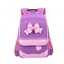 Purple Nylon with Pink Lace Cute Bow Quilted Flap School Backpack Lightweight Sewing Pattern Heart Girls Preppy Campus Book Bag