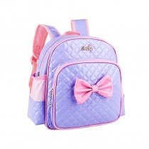 Purple Patent Leather with Pink Bow Quilted Cute Girls School Backpack Fine Sewing Pattern Sequin Pupil Preppy Campus Book Bag