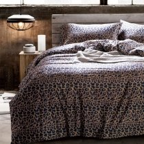 Black and Coffee Brown Sexy Leopard Print Old Fashion Upscale Personalized 100% Egyptian Cotton Full, Queen Size Bedding Sets