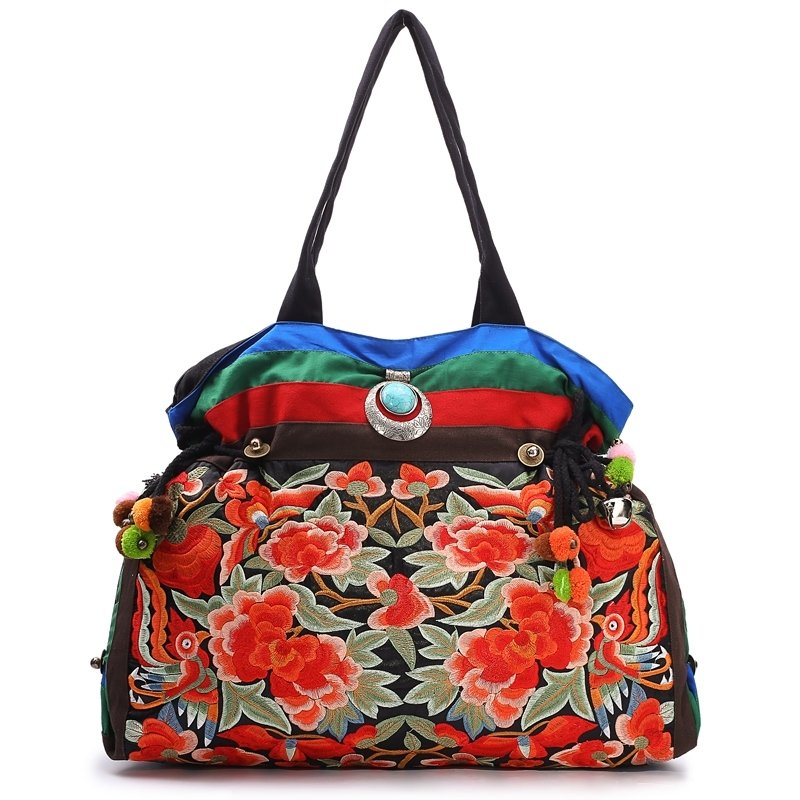 Vintage Colorful Canvas Women Large Shell-shaped Tote Personalized Embroidered Floral Sequin American Style Shoulder Handle Bag