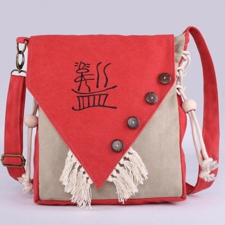 Hipster Punk Style Red Beige Canvas Personalized Tassel Button Sewing Pattern Zipper Women Small Casual Flap Crossbody Shoulder Bag