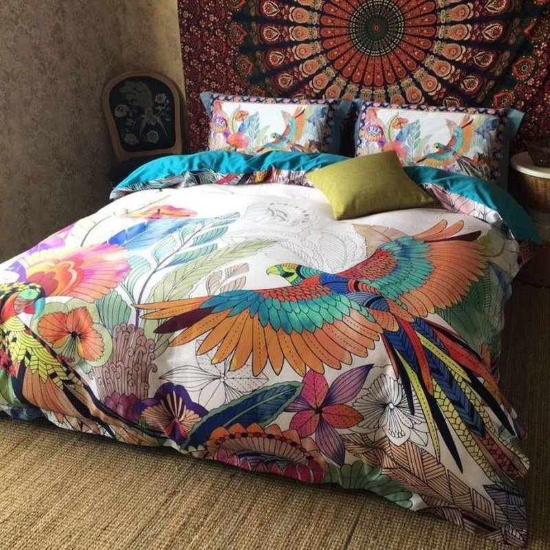 Rust Orange Teal Blue and White Stylish Bird Print Bohemian Style Gorgeous Egyptian Cotton Full, Queen Size Bedding Sets