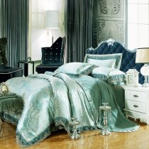 Bright Teal and Gold Gothic Pattern Shabby Chic Baroque Style Western Theme Lace Edge Jacquard Design Full, Queen Size Bedding Sets