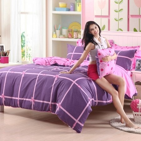 Pretty Girls Violet Purple and Pink Plaid and Bow Print Traditional Reversible 100% Cotton Twin, Full, Queen Size Bedding Sets