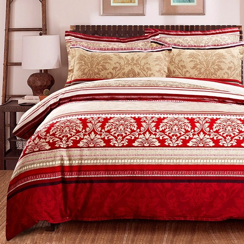 Dark Red Camel and White Damask Pattern Stripe and Bohemian Style Retro Style 100% Brushed Cotton Full, Queen Size Bedding Sets