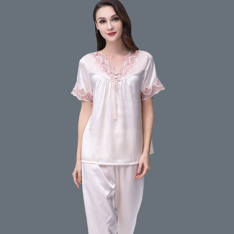 Platinum 100% Mulberry Silk V-neck with Embroidered Jacquard Trim Short Sleeve Shirt with Lace Cuffs and Pants Luxury Women Pajamas M L XL