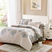 Beige and Light Gray Damask Pattern Tribal Print Bohemian Style Old Fashion 100% Brushed Cotton Full, Queen Size Bedding Sets