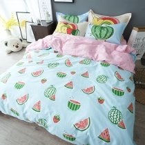 Kids Red Green and Light Blue Watermelon Print Rustic Style Cute and Funny Personalized 100% Cotton Twin, Full, Queen Size Bedding Sets