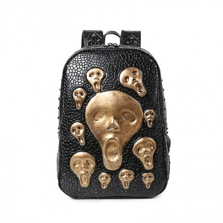 Black Leather Metallic Gold Skull Embossed Crocodile Boys School Book Bag Punk Rock and Roll Style Unique Rivet Studded Travel Backpack