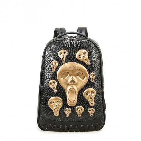 Black Leather Embossed Metallic Gold Skull Cool Men Large Travel Backpack Punk Rock and Roll Style Spike Rivet Studded School Book Bag