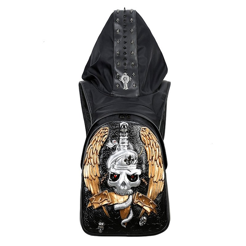 Personalized Black Faux Leather Masculine Men Large Travel Laptop Backpack Durable Embossed Skull Studded Punk Style School Campus Book Bag