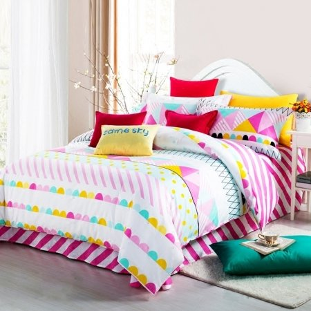Elegant Girls Bright Colorful Stripe and Polka Dot Design Trendy Pastel Style Reversible 100% Cotton Twin, Full Size Bedding Sets