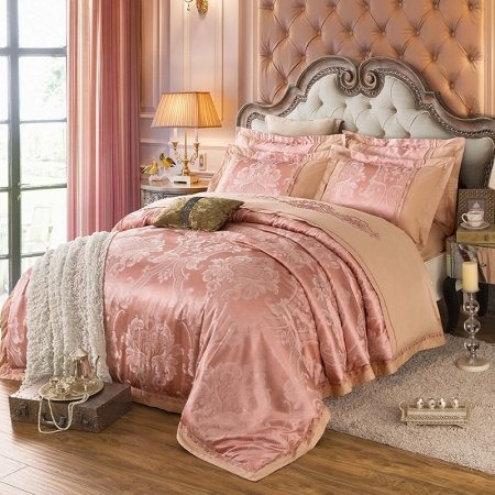 Light Taupe and Camel Glitter Damask Pattern Shabby Chic Jacquard Satin Full, Queen Size Bedding Sets