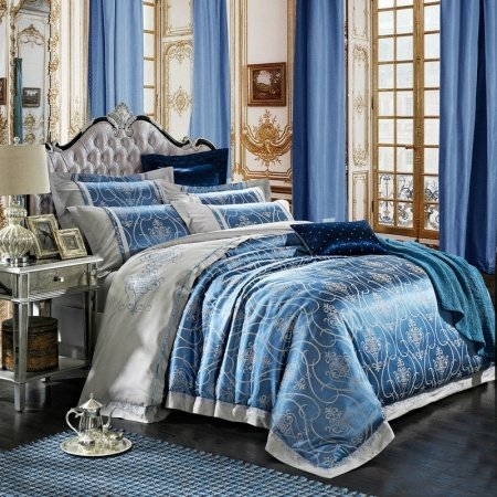 Luxurious Ice Blue and Silver Gothic Pattern Sparkly Embroidered Design Upscale Jacquard Satin Fabric Full, Queen Size Bedding Sets