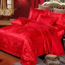 Upscale Dark Red Peony Floral Pattern Oriental Style Sequin Jacquard Satin Full, Queen Size Bedding Sets