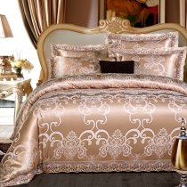 Coffee Brown and Gold Gothic Pattern Bohemian Style Vintage Lace Shabby Chic Luxury Jacquard Satin Full, Queen Size Bedding Sets