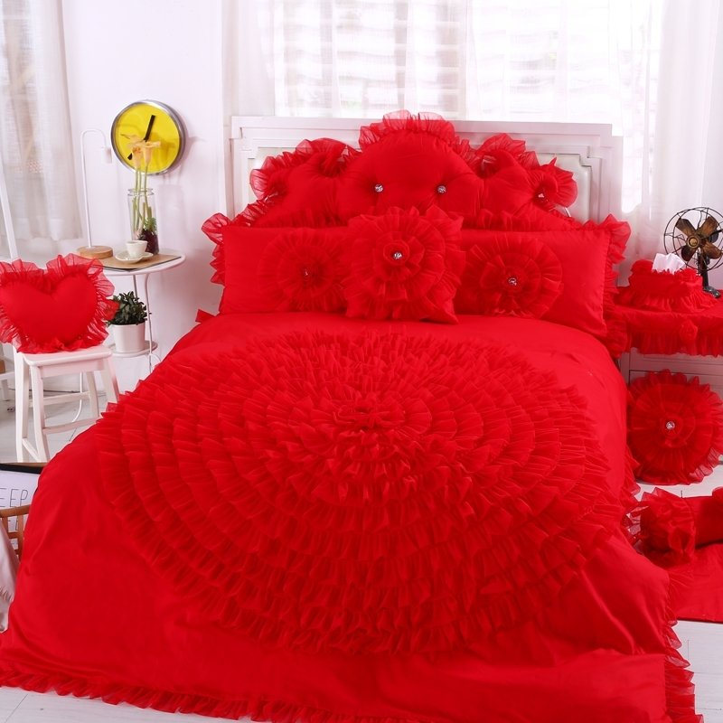 Vermilion Red Ruched Rosette Pattern Ruffled Design Elegant Girls High Fashion 100% Cotton Twin, Full, Queen Size Bedding Sets