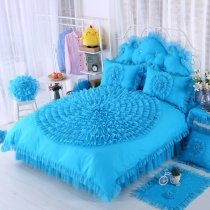 Girls Peacock Blue Rosette Pattern Waterfall Ruffle Design Feminine Feel Noble Excellence 100% Cotton Twin, Full, Queen Size Bedding Sets