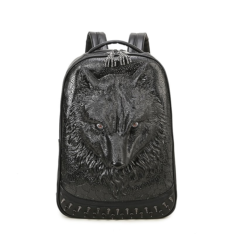 Punk Rock and Roll Black Patent Leather Men Large Travel Backpack Embossed Wolf Head Spikes Rivet Studded School Campus Book Bag