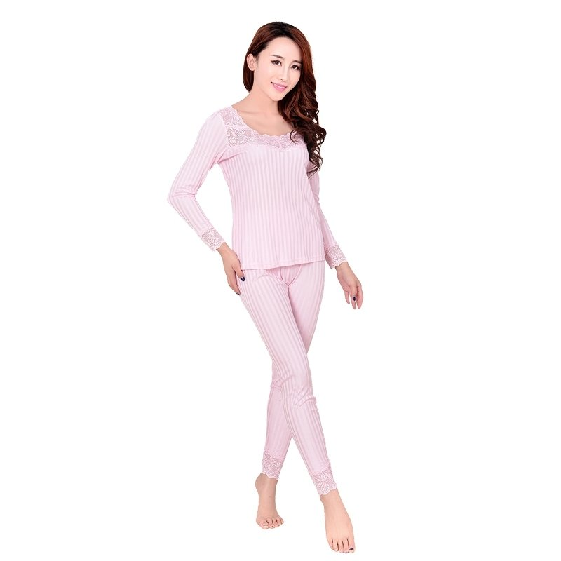Pink Vertical Stripe 100% Pure Silk Long Sleeve Shirt & Full Length Pants Warm Spring Autumn Pajamas for Feminine XL XXL