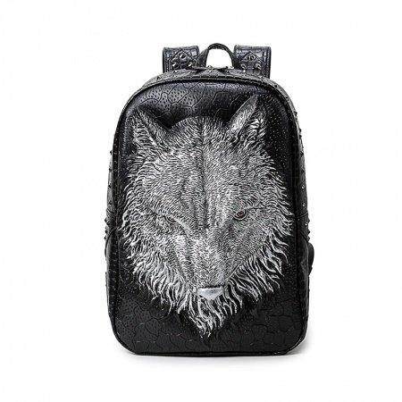 Vintage Black Leather Embossed Silver Wolf Head Men Travel Laptop Backpack Punk Rock and Roll Rivet Studded School Campus Book Bag