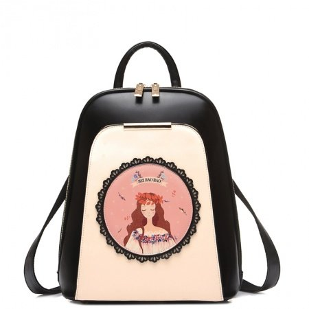 Beige and Black Patent Leather Elegant Girls School Campus Book Bag Personalized Rosette Pattern Cartoon Character Travel Backpack