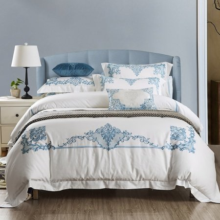 Blue and Snow White Fashion Wedding Themed Royal Hotel Style Luxury Egyptian Cotton Full, Queen Size Bedding Sets