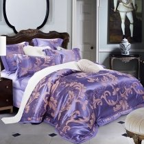 Royal Blue and Gold Cool Design Scroll Pattern Royal Style Jacquard Satin Full, Queen Size Bedding Sets