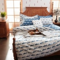 Cerulean Blue and White Ocean Life Shark Print Shabby Chic Reversible 100% Organic Cotton Twin, Full, Queen Size Bedding Sets for Children