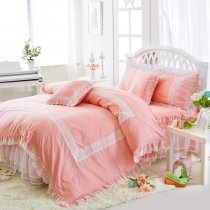 Hipster Coral Pink and White Gathered Ruffle Victorian Lace Sophisticated Elegant Girls Cotton Twin, Full, Queen Size Bedding Sets