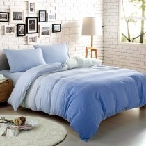 Light Blue and Sky Blue Ombre Colored Fashion Unique Abstract 100% Cotton Full, Queen Size Bedding Sets